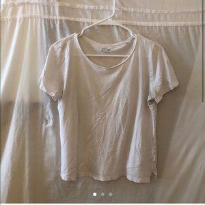Jcrew scuba neck white cotton short sleeved tshirt
